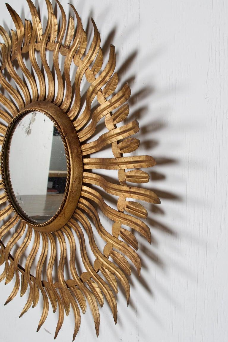Mid-Century Modern Pair of Midcentury Sunburst Mirrors For Sale