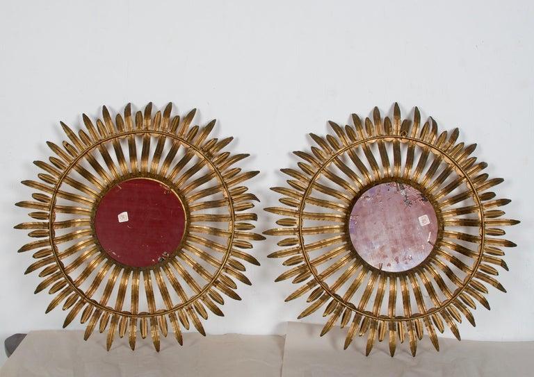 Italian Pair of Midcentury Sunburst Mirrors For Sale