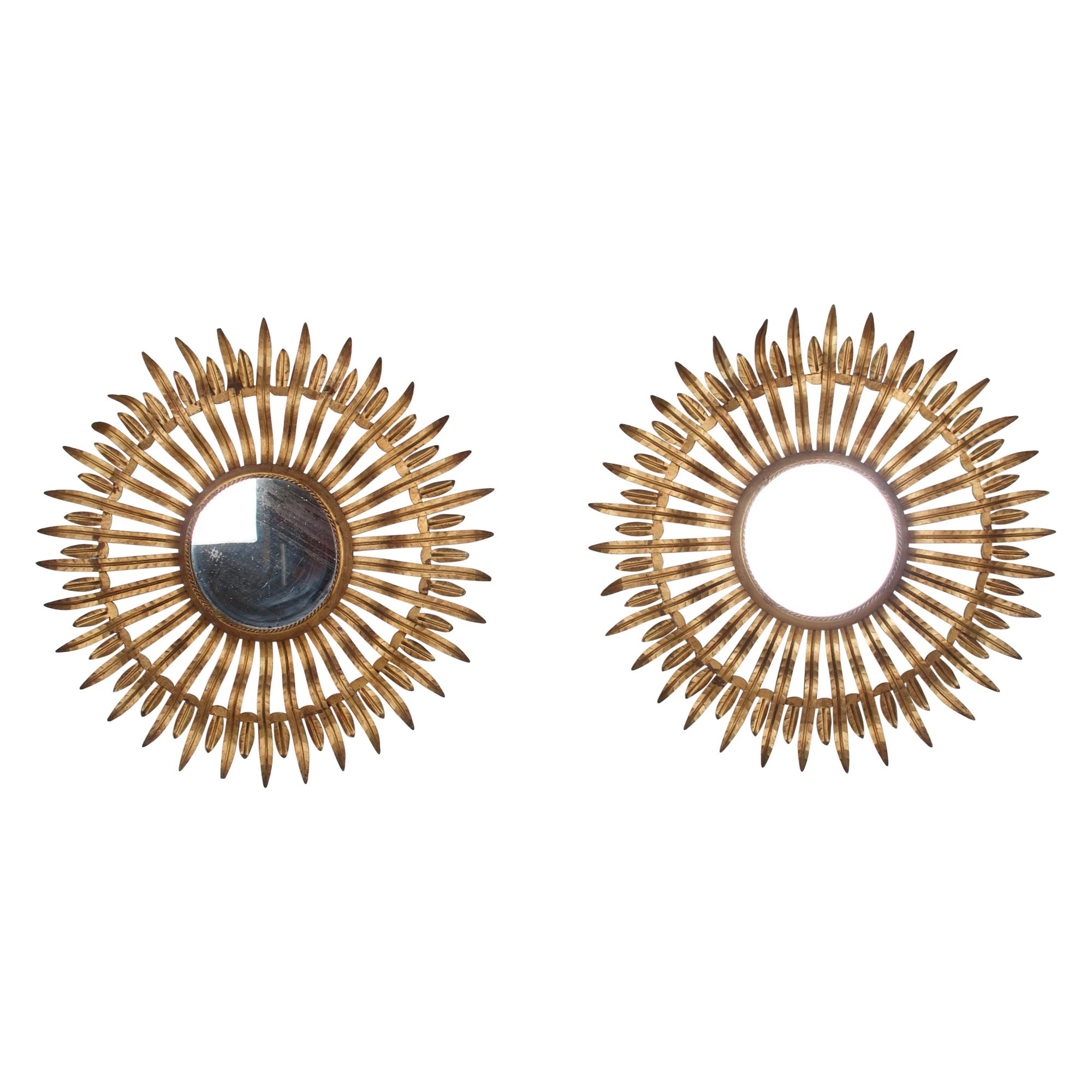 Pair of Midcentury Sunburst Mirrors