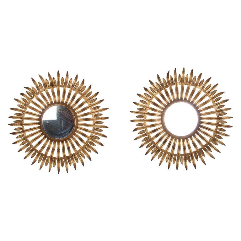Pair of Midcentury Sunburst Mirrors For Sale