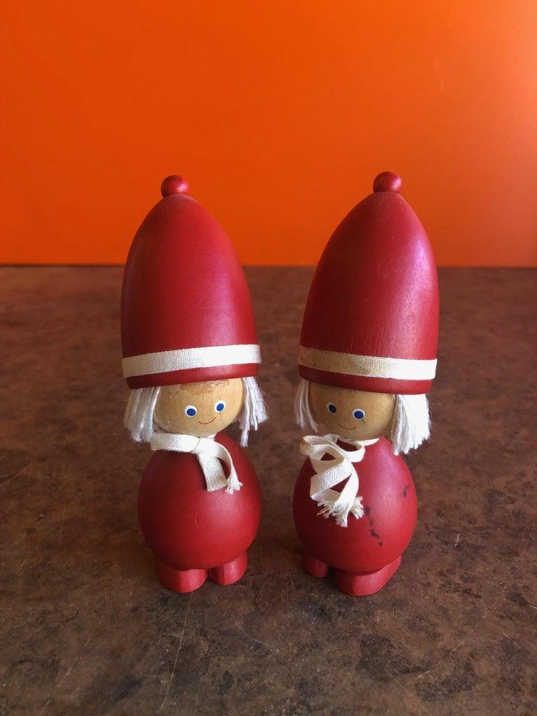 Scandinavian Modern Pair of Midcentury Swedish Tomte Figures / Children / Toys For Sale