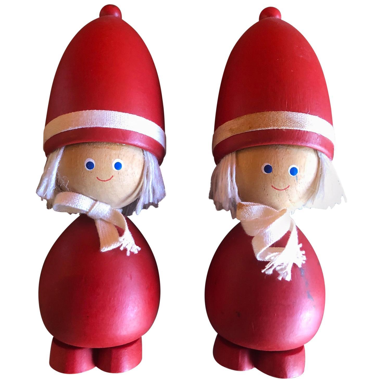 Pair of Midcentury Swedish Tomte Figures / Children / Toys
