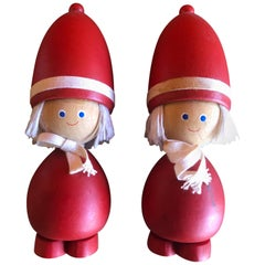 Pair of Midcentury Swedish Tomte Figures / Children / Toys
