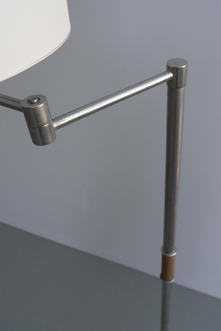 Pair of Midcentury Swing-Arm Floor Lamps in Metal with Faux Bamboo Wood Details For Sale 5
