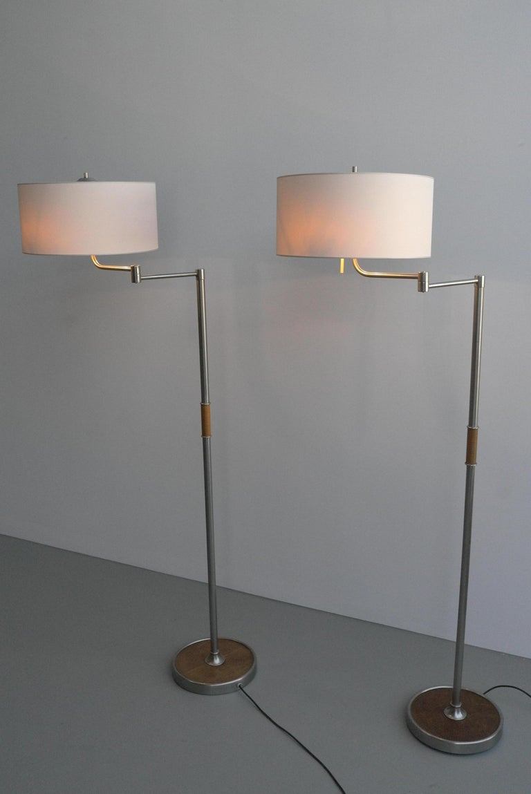 Pair of Midcentury Swing-Arm Floor Lamps in Metal with Faux Bamboo Wood Details For Sale 6