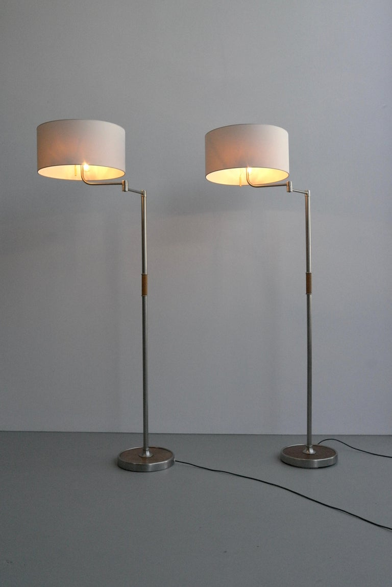 Pair of Midcentury Swing-Arm Floor Lamps in Metal with Faux Bamboo Wood Details For Sale 7