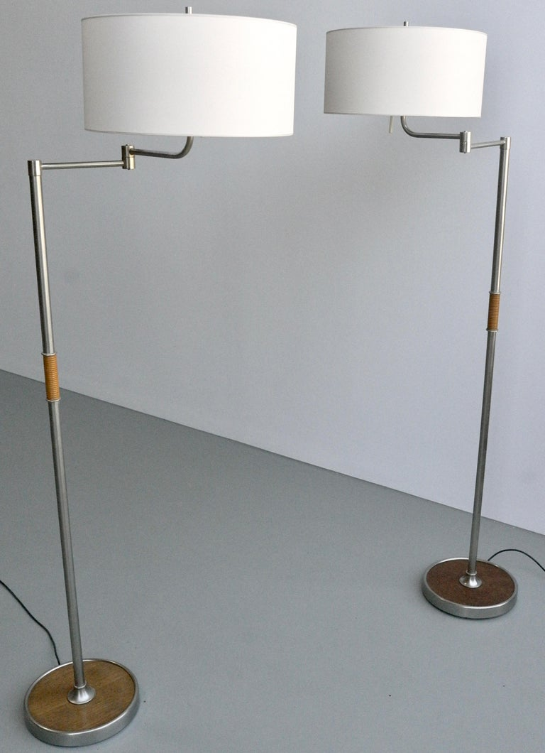 Pair of Midcentury Swing-Arm Floor Lamps in Metal with Faux Bamboo Wood Details For Sale 8