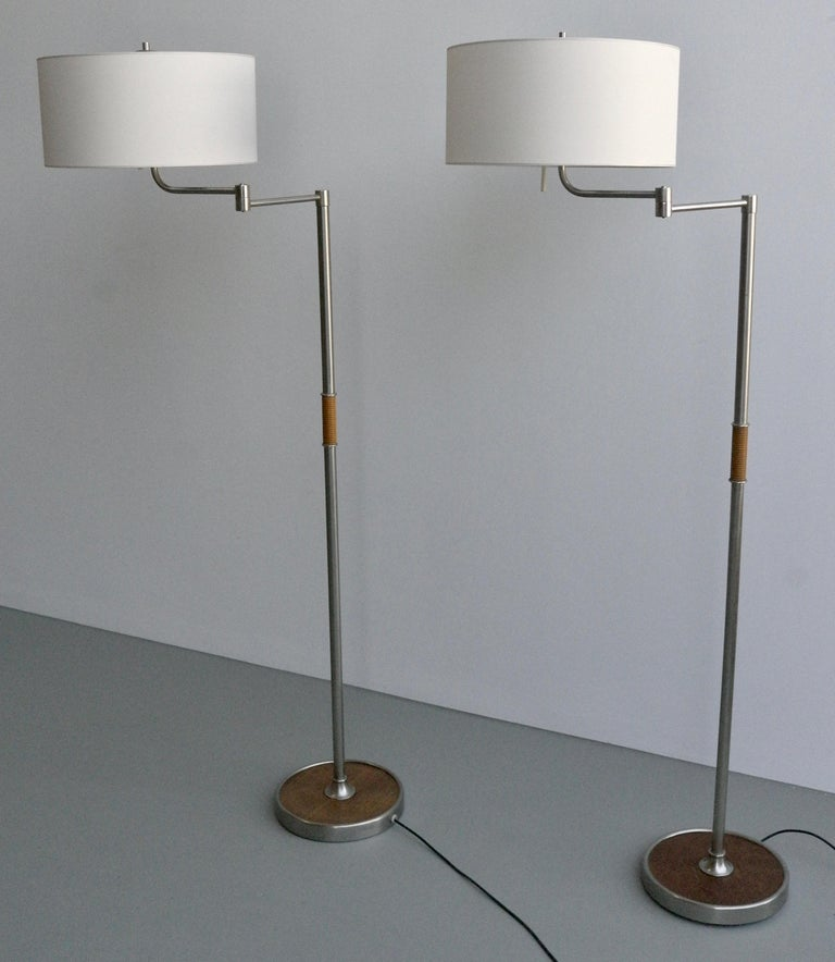 Pair of Midcentury Swing-Arm Floor Lamps in Metal with Faux Bamboo Wood Details For Sale 1