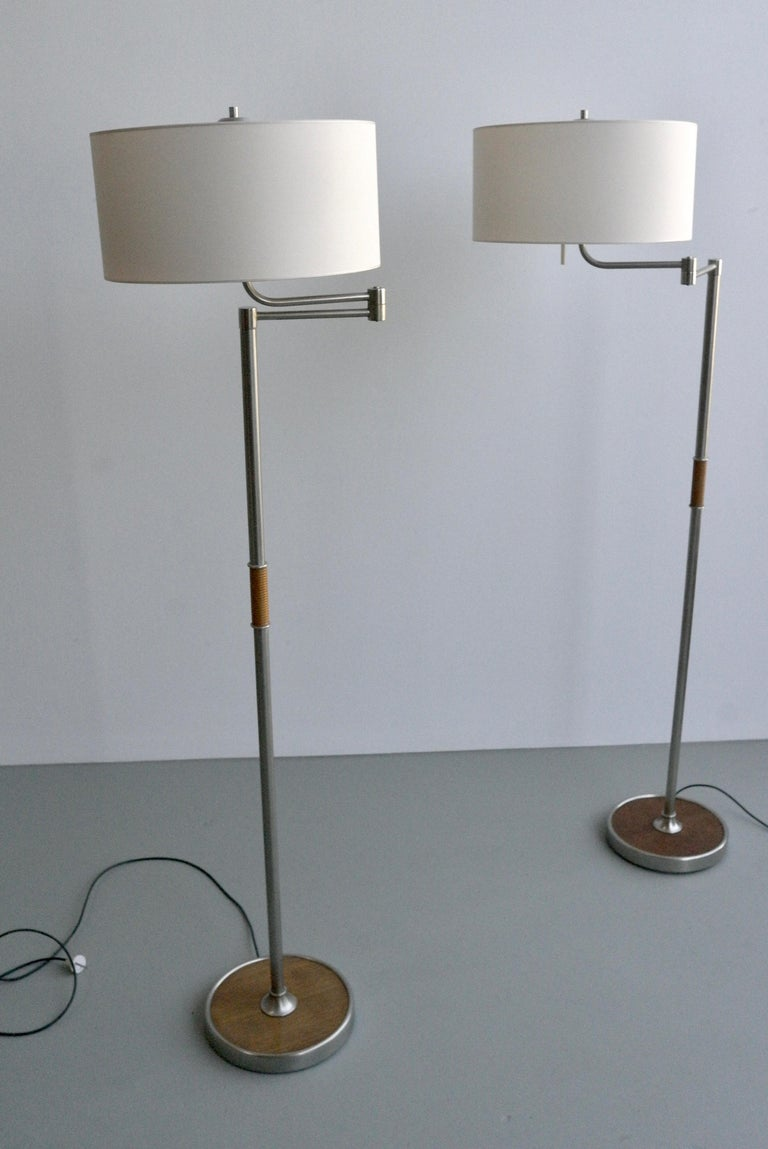 Pair of Midcentury Swing-Arm Floor Lamps in Metal with Faux Bamboo Wood Details For Sale 3