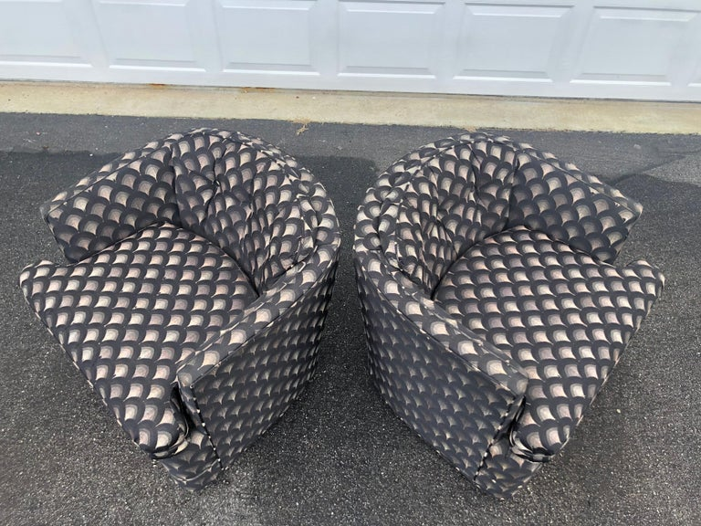 Pair of Mid Century Swivel Club Chairs For Sale 3