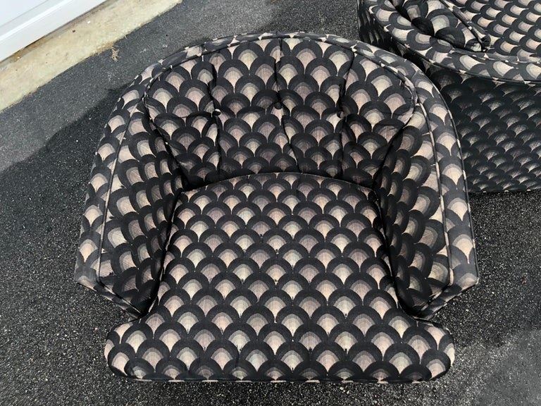 Pair of Mid Century Swivel Club Chairs For Sale 11