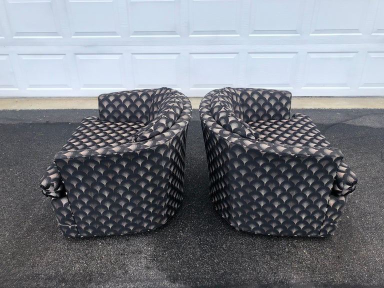 Pair of Mid Century Swivel Club Chairs For Sale 1