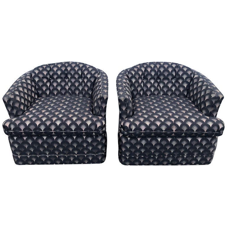 Pair of Mid Century Swivel Club Chairs For Sale