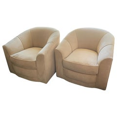 Pair of Mid Century Swivel Club Chairs in the Style of Milo Baughman