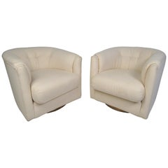 Pair of Midcentury Swivel Lounge Chairs