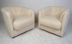 Pair of Mid-Century Swivel Lounge Chairs