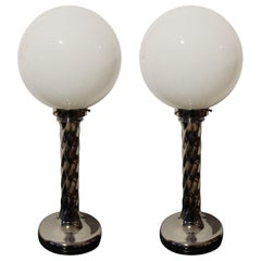 Pair of Midcentury Table Lamps, Chromed Columns and White Opaline Glass, 1950s