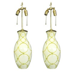 Pair of Mid-Century table lamps in White & Apple Green