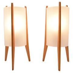 Pair of Mid-Century Table Lamps, Rockets, Pokrok Zilina, 1970's