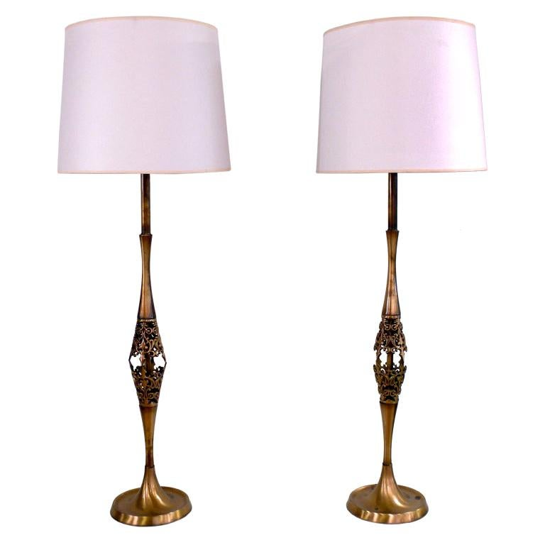 Pair of Midcentury Tall Brass Lamps