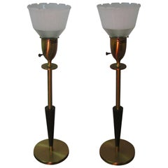 Pair of Midcentury Tall Rembrandt Table Lamps