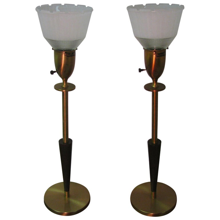 Pair of Mid Century Tall Rembrandt Table Lamps For Sale