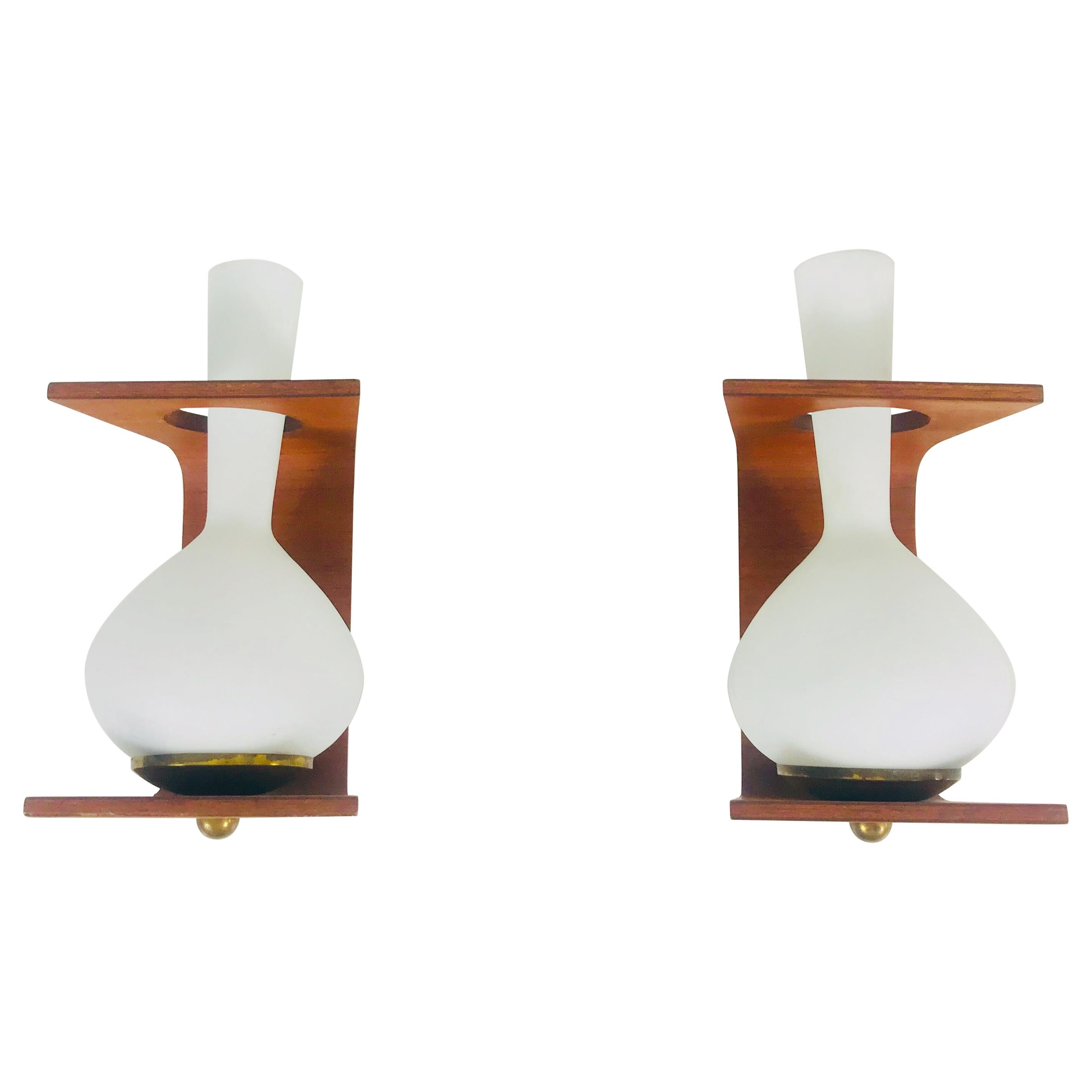 Pair of Midcentury Teak and Opaque Glass Wall Lamps Stilnovo Attributed, Italy