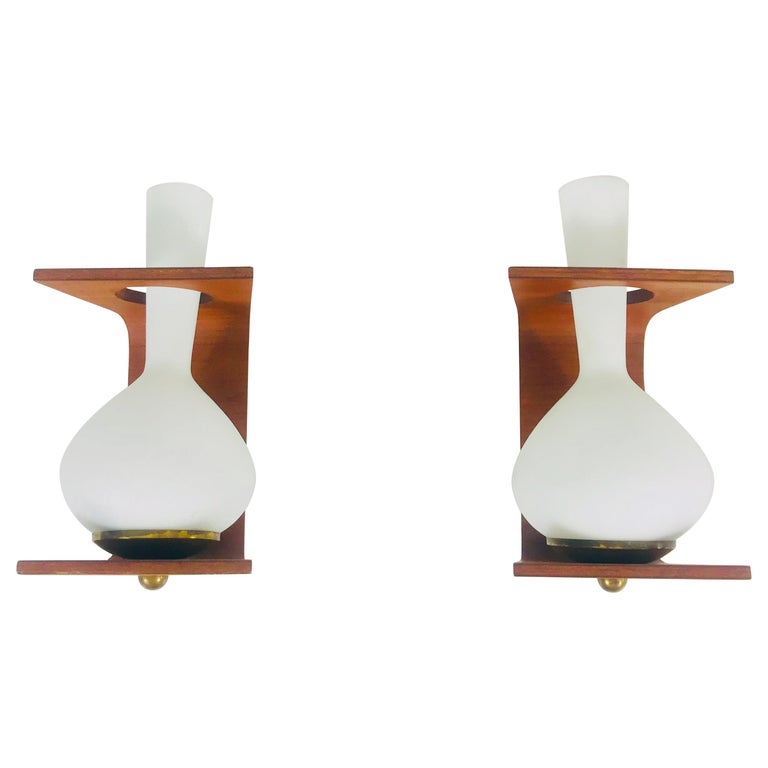Pair of Midcentury Teak and Opaque Glass Wall Lamps Stilnovo Attributed, Italy For Sale