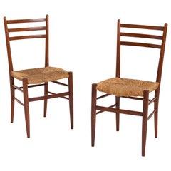 Pair of Midcentury Teak and Rush Chairs by Otto Gerdau