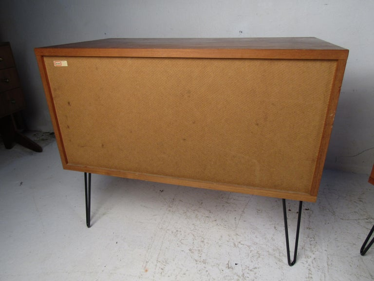 Pair of Midcentury Teak Cabinets with Hairpin Legs For Sale 6