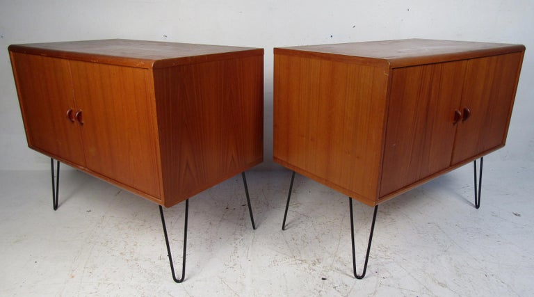 Mid-Century Modern Pair of Midcentury Teak Cabinets with Hairpin Legs For Sale