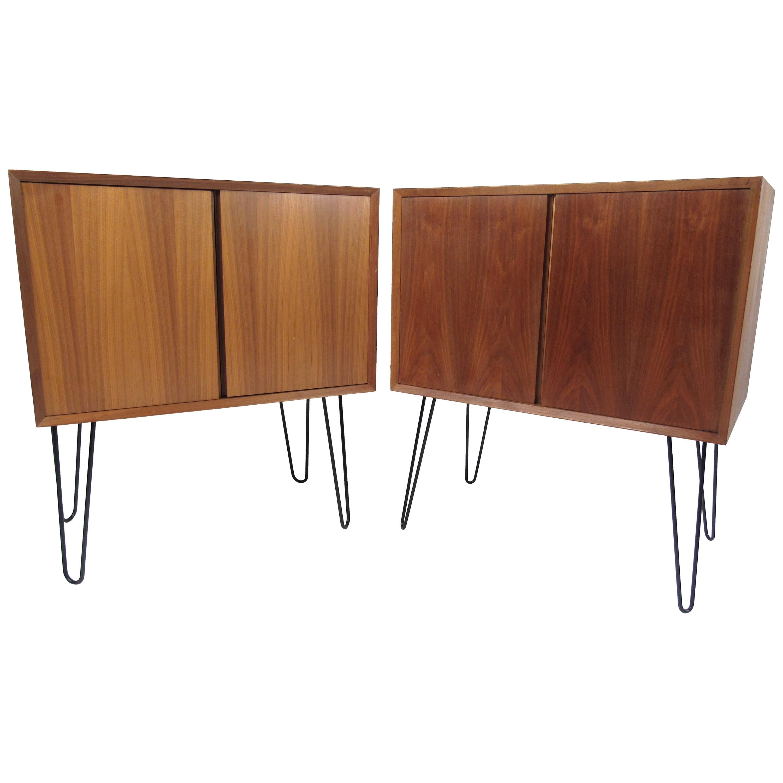 Pair of Midcentury Teak Cabinets with Hairpin Legs