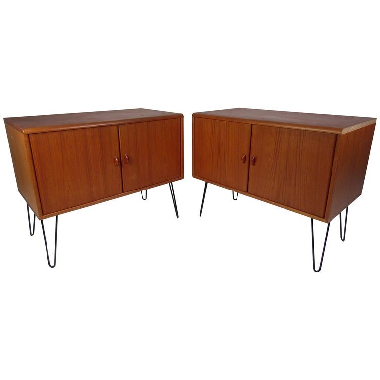 Pair of Midcentury Teak Cabinets with Hairpin Legs For Sale
