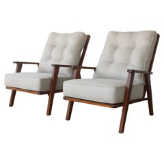 Pair of Mid-Century Teak Framed Lounge Chairs, France, 1950s
