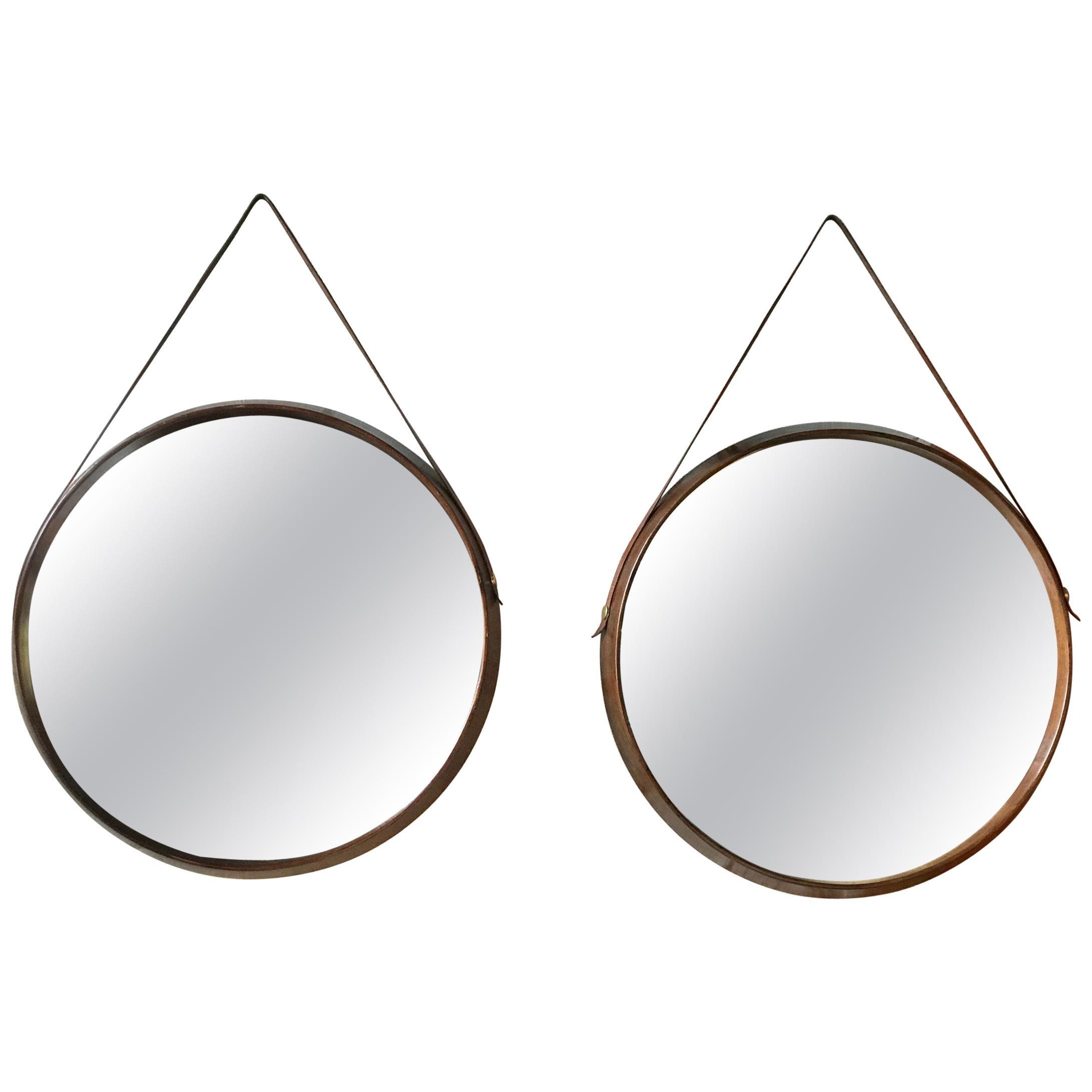 Pair of Midcentury Teak Wall Round Mirrors, 1960s