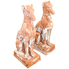 Pair of Midcentury Terracotta Dog Garden Statues