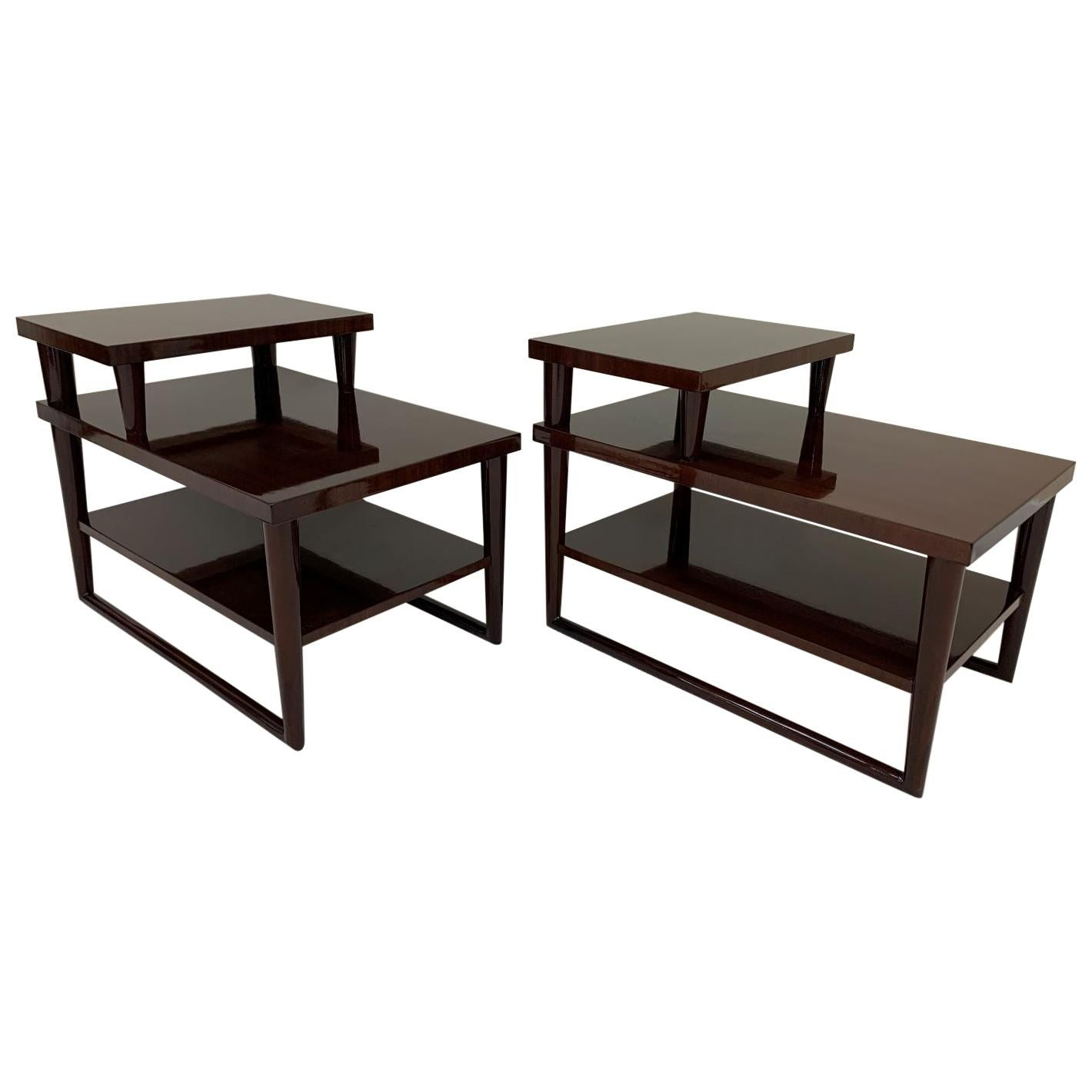 Pair of Mid Century Three Tier Side Tables Attributed to T.H. Robsjohn-Gibbings