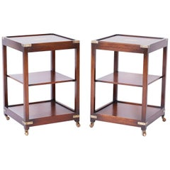 Pair of Midcentury Three Tiered Campaign Style Tables or Stands with Pullouts