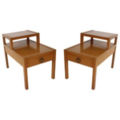 Pair of Mid-Century Tiered End Tables with Drawer and Ring Pull