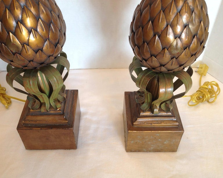 Metal Pair of Midcentury Tole Pineapple Lamps For Sale