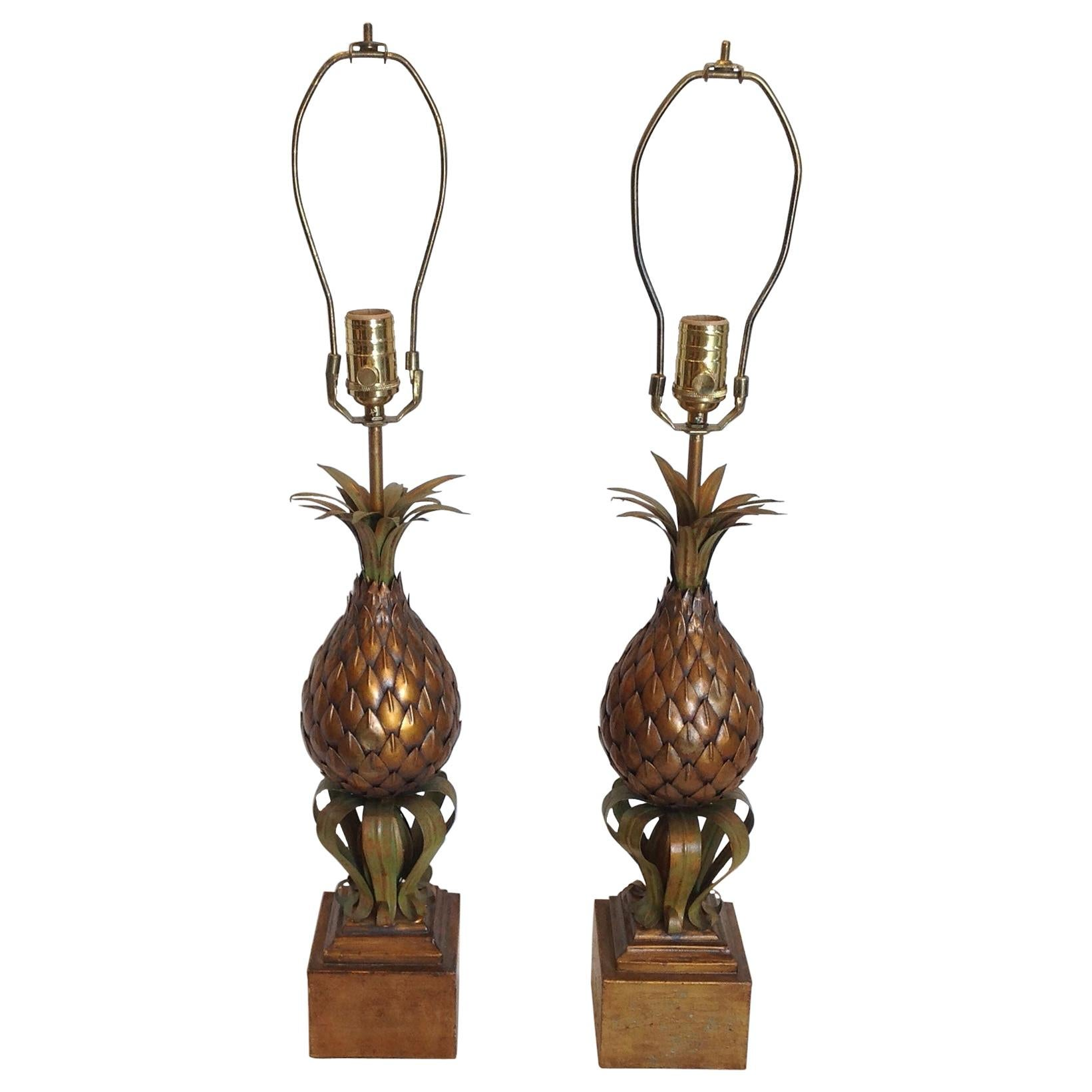 Pair of Midcentury Tole Pineapple Lamps