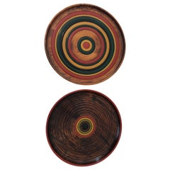 Pair of Midcentury Turned Wood Japanese Platters