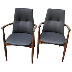 Pair of Mid Century Upholstered Grey Lounge Chairs by Vanson, England, 1960s
