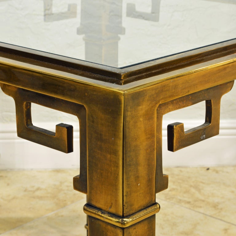 Hollywood Regency Pair of Mid Century Vintage Mastercraft Greek Key Brass and Glass Top End Tables