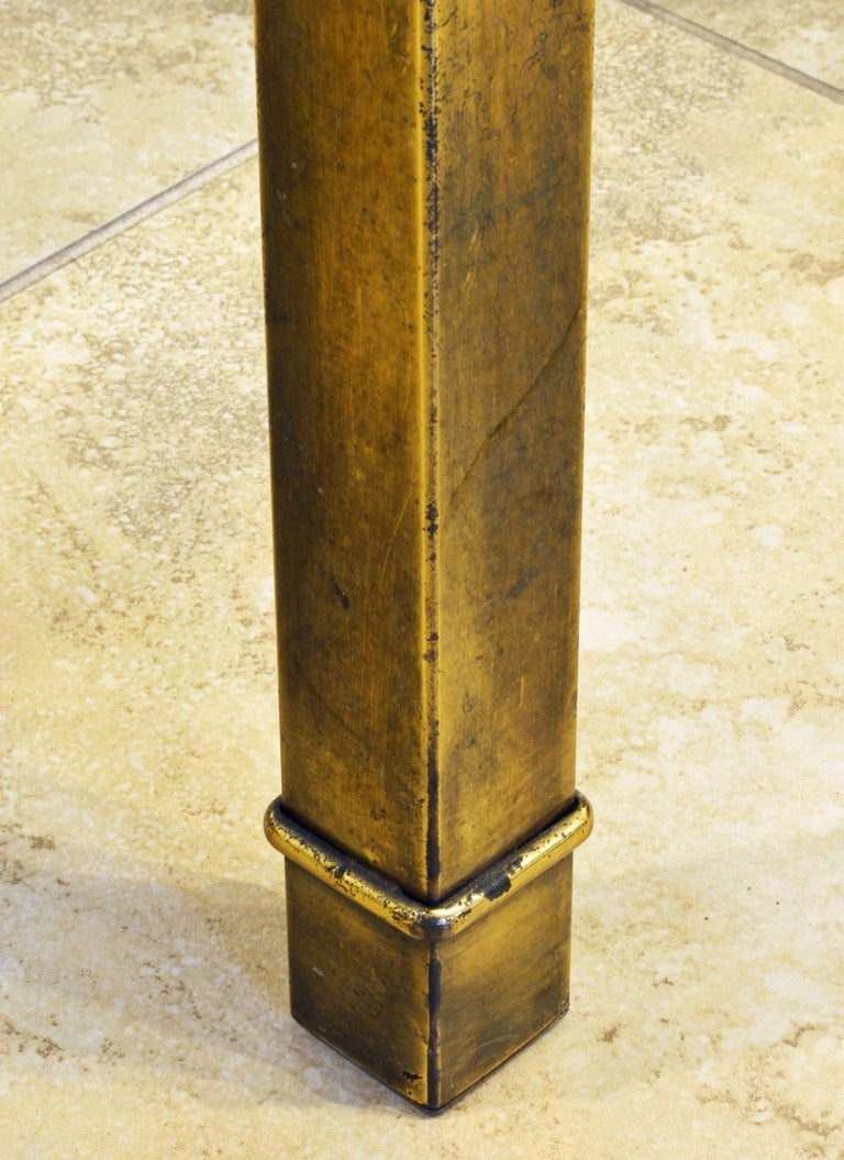 American Pair of Mid Century Vintage Mastercraft Greek Key Brass and Glass Top End Tables