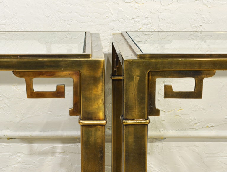 Pair of Mid Century Vintage Mastercraft Greek Key Brass and Glass Top End Tables In Good Condition In Ft. Lauderdale, FL