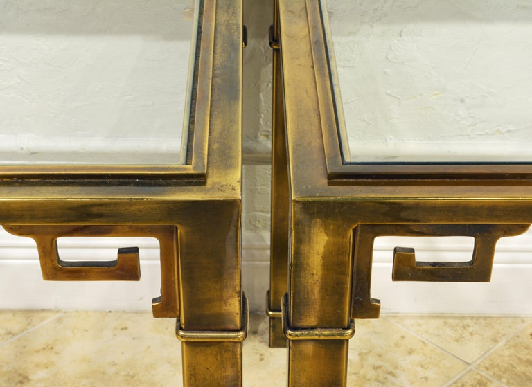 20th Century Pair of Mid Century Vintage Mastercraft Greek Key Brass and Glass Top End Tables