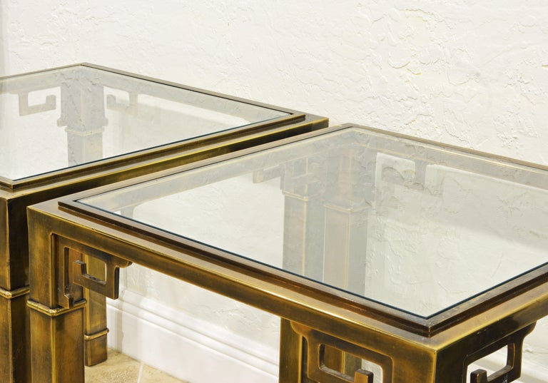 Pair of Mid Century Vintage Mastercraft Greek Key Brass and Glass Top End Tables 1