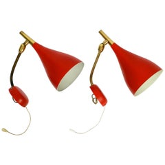 Pair of Midcentury Wall Lights by Cosack with Original Red Lacquer