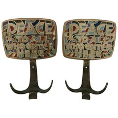 """Pair of Mid Century Wall Mount Coat or Hat Racks """"Peace to All Who Enter Here"""""""